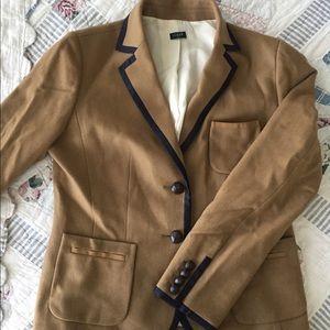 Jcrew tan wool blazer with navy piping
